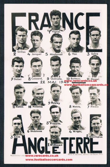 1949 England Mannion Rowley etc v.France